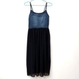 #降價 牛仔拼接紗裙洋裝