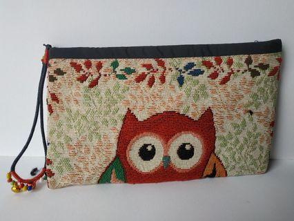 Embroidered Owl Design Pouch Small Case