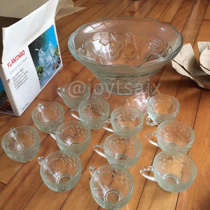 《板橋自取》全新缺件14件組 玻璃雞尾酒缸玻璃杯組宴會酒缸調酒