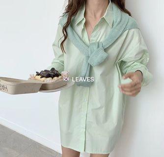 果綠色長版襯衫洋裝