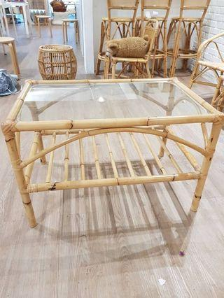 Table – Cane with glass surface (rectangle) for sale!!!