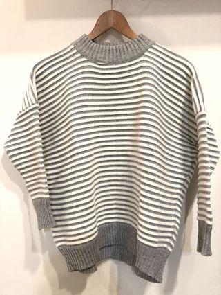 小高領壓紋毛衣