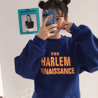#398 ulzzang blue harlem renaissance pullover soft sweater electric blue mustard yellow graphic jacket