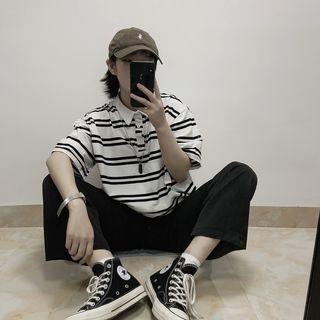 黑白橫條紋寬鬆上衣