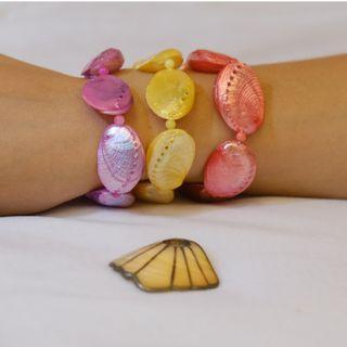 多色度假風海島風格亮麗天然白貝殼手鍊