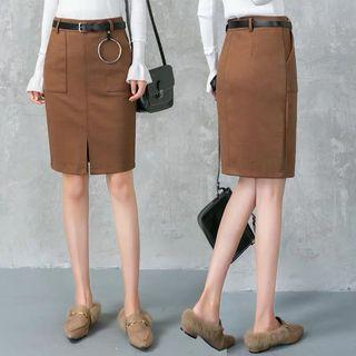 🆕🇰🇷🇨🇳 brown knee length highwaisted skirt