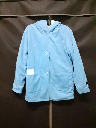 冬季甜美加厚保暖淡藍色長款外套