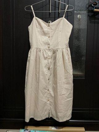Cream dress kancing depan
