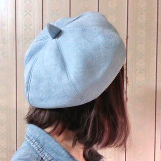 全新藍色麂皮畫家帽