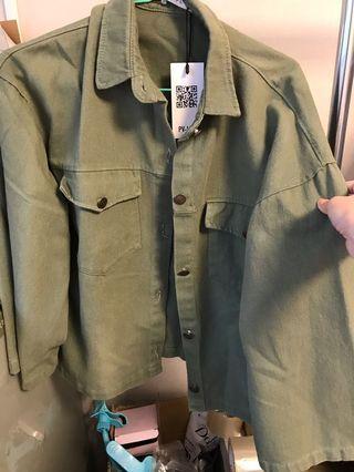 PSGB淺軍綠寬袖牛仔外套