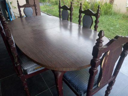 Antique Dining Table Set (with 6 chairs) #1111