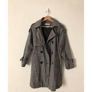 有厚度外套 顯瘦呢料風衣 質感雙排釦西裝大衣風衣