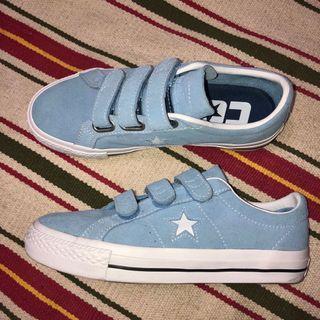 💋限定版💋Converse ONE STAR PRO 3V魔鬼氈 水藍嫩藍baby藍 麂皮休閒鞋板鞋運動鞋 基本款1970滑板鞋 162519C匡威