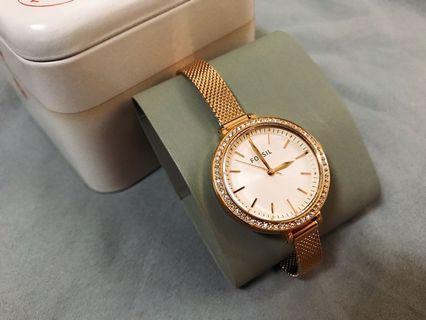 全新Fossil經典玫瑰金色調不鏽鋼手錶 女用 (免運費)