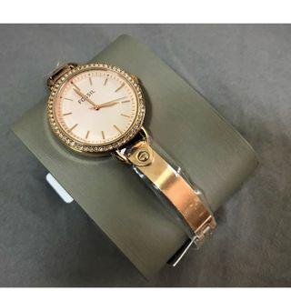 全新FOSSIL經典三針玫瑰金色調不銹鋼手錶/腕錶 女用