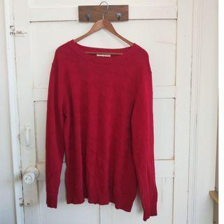 『二手衣出清』100%棉男版紅色針織毛衣上衣