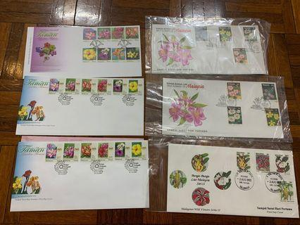 Flowers of Malaysia first day covers x 6