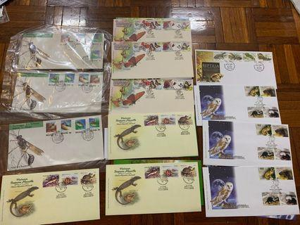 Butterfly, reptile, norturnal animal, insect first day covers