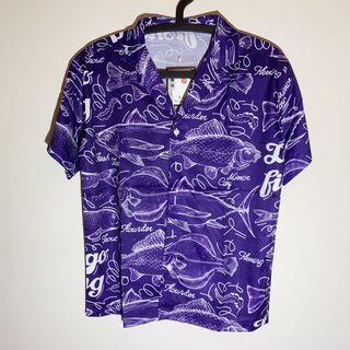 Joan《港風襯衫》原宿 復古 紫色 寬鬆上衣 短袖襯衫