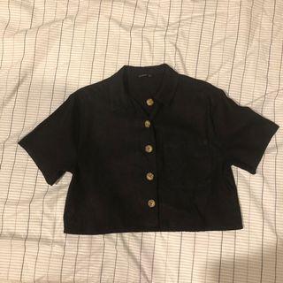 Cotton on linen crop top hitam button