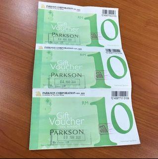Parkson Voucher RM10 x 3