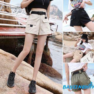 #396 khaki / beige / green / black cargo shorts high waisted shorts with belt baggy shorts denim
