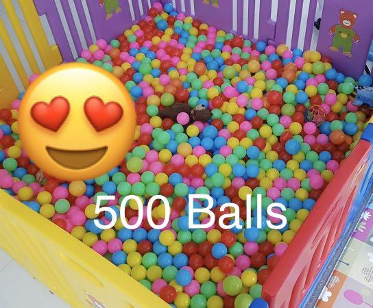 500 Colourful Plastic Balls for Playpen Ball Pit