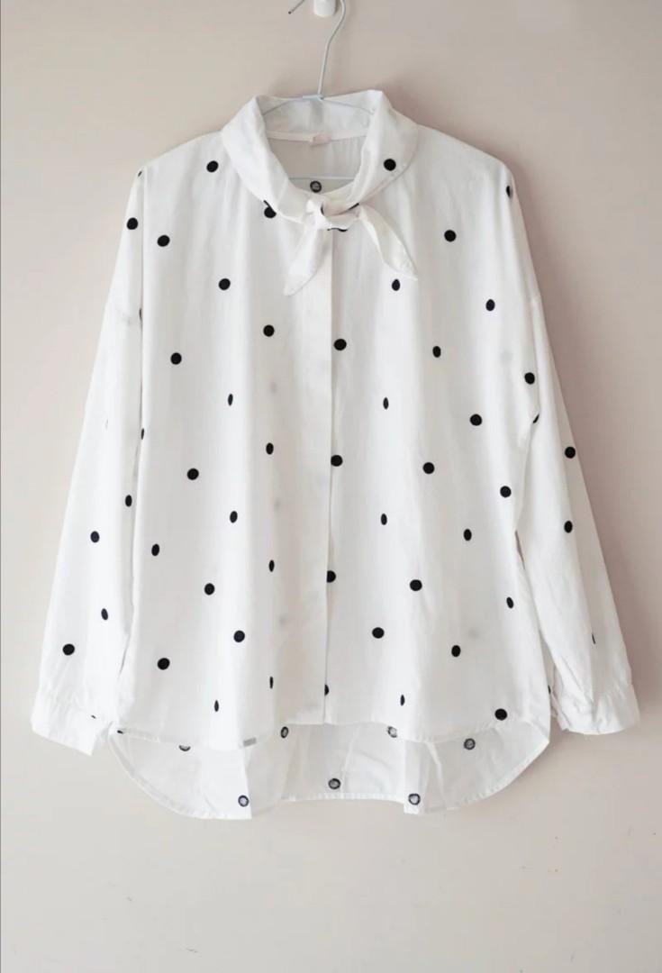 刺繡波點領口綁結襯衫
