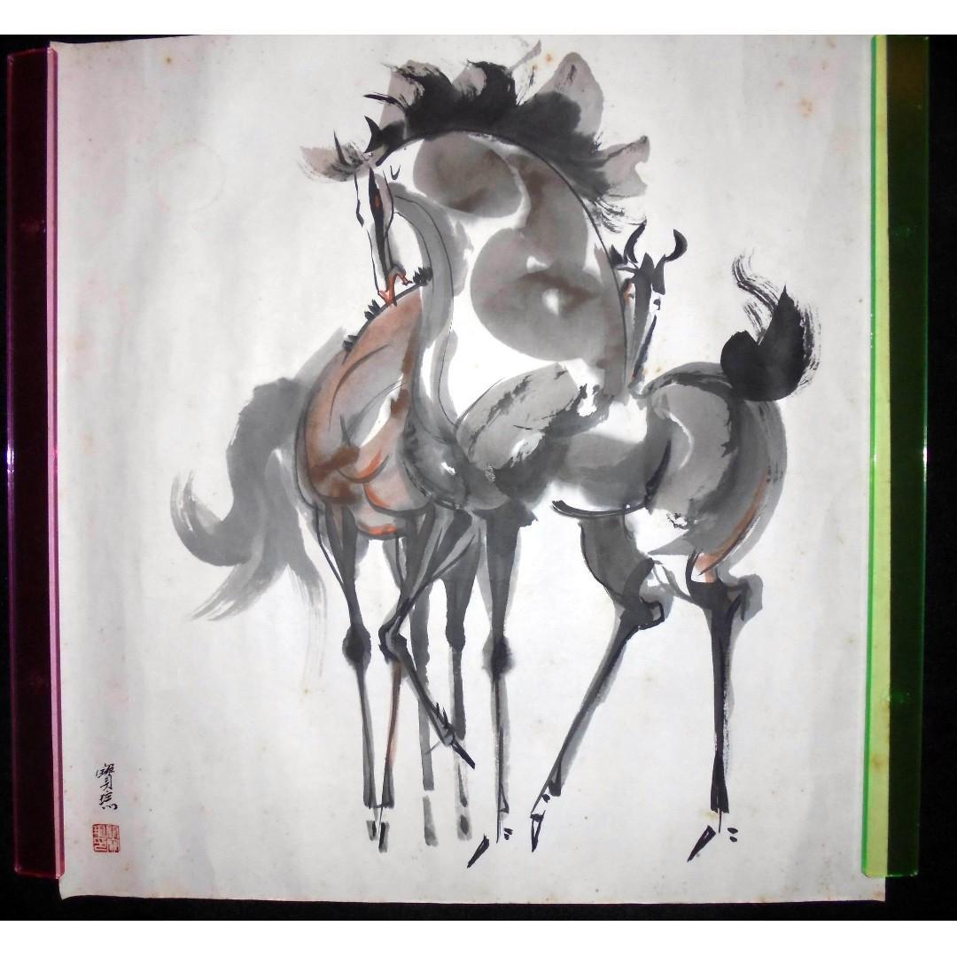 中國工藝美術大師 關寶琮 真跡 双駿圖