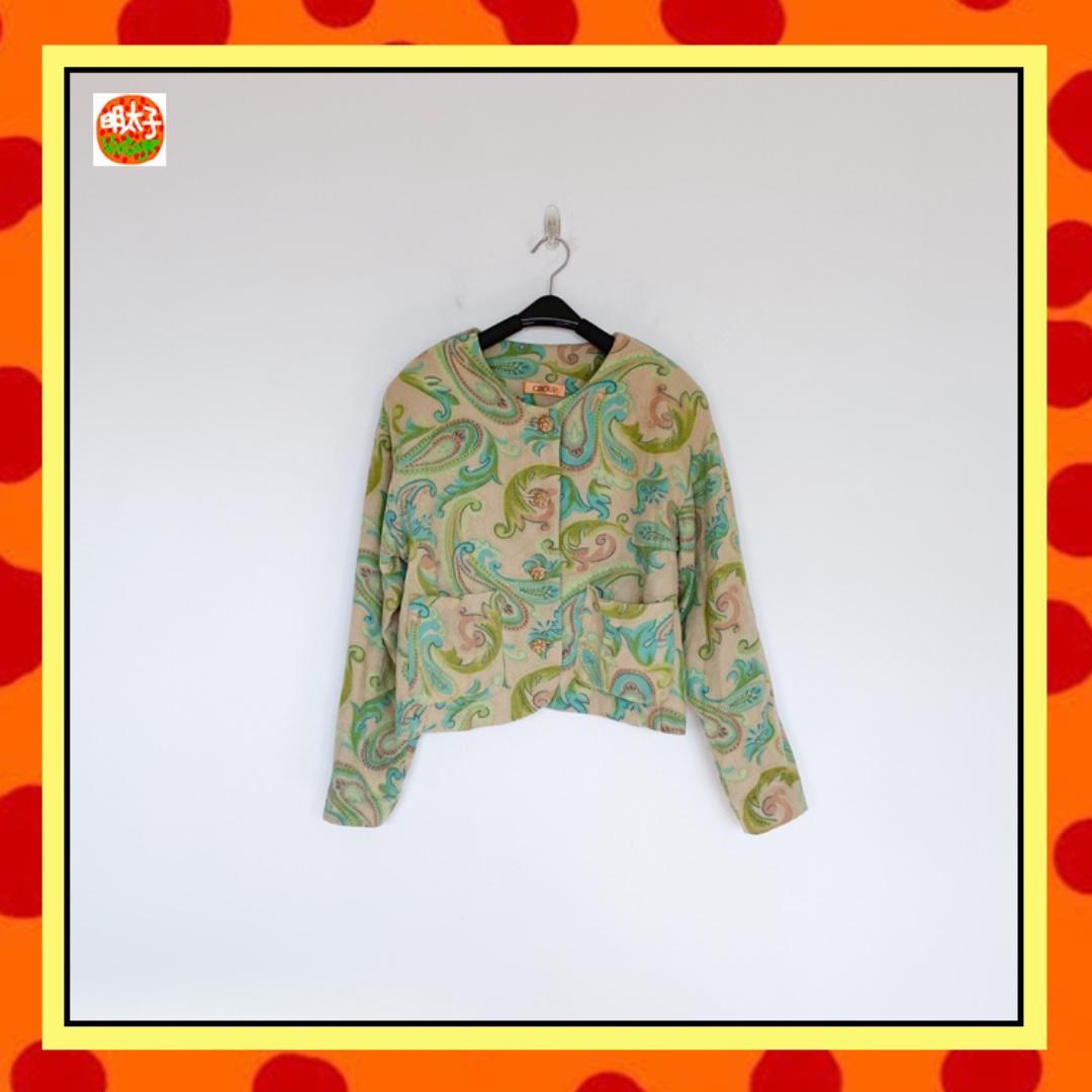 二手 米綠色 印花 毛料 落肩 寬鬆版 長袖 外套 明太子 B922