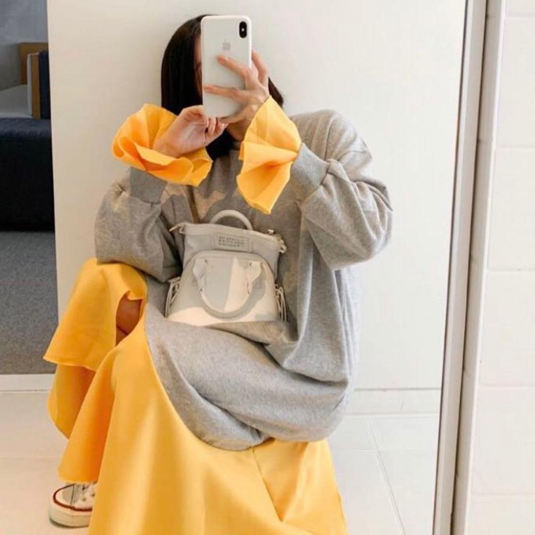秋。懶人穿搭 復古小眾 長款大件直筒撞色大擺設計感連身裙-Euphoria Store