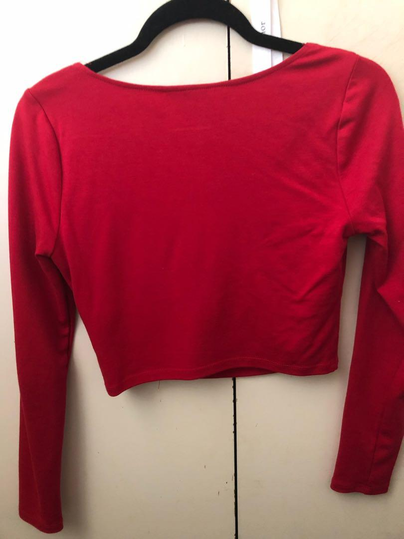 Alice in the eve- general pants red long sleeve corset style top