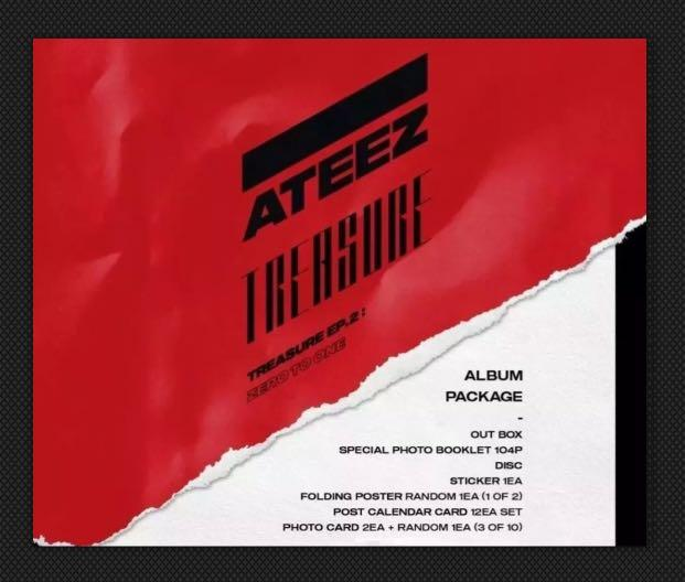 ✨ATEEZ✨ TREASURE EP2 {ZERO TO ONE} BRAND NEW - UNSEALED WITHOUT 3 x PHOTO CARDS