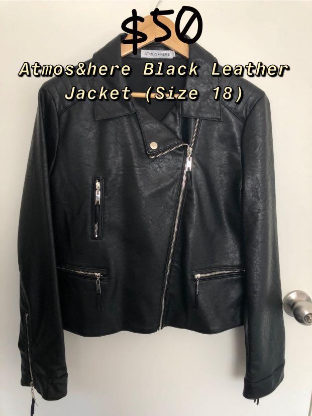 Atmos&here - Black Leather Jacket (Size 18)