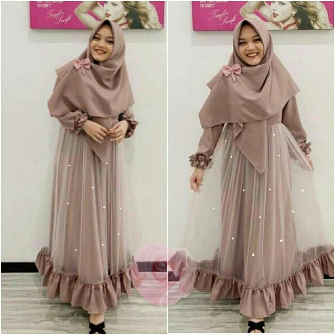 Baju Gamis Syari Nabila Tile Mutiara Wanita Fesyen Wanita Muslim Fashion Gaun Di Carousell