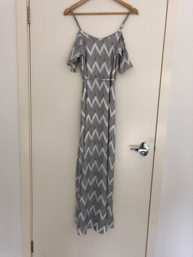 Black & White Long Maxi Dress with tie waist and off the shoulders ruffles