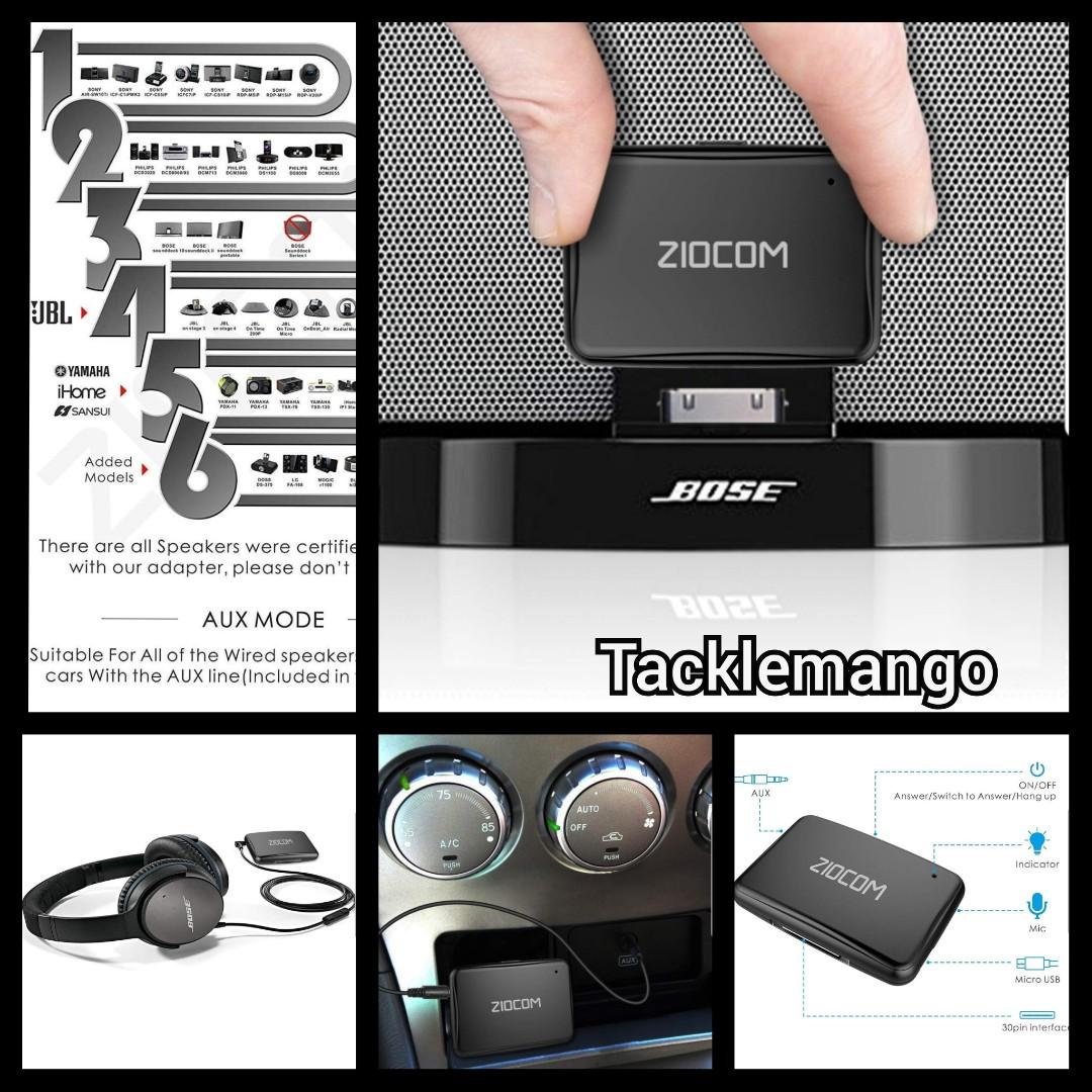 ESYNIC Bluetooth Receiver Adapter Mini Wireless Bluetooth 4.1 Car Kit 3.5mm Music AUX Audio Adaptor Hands-Free Phone Call with Built-in Mic for Car Home Speaker Headphones Computers