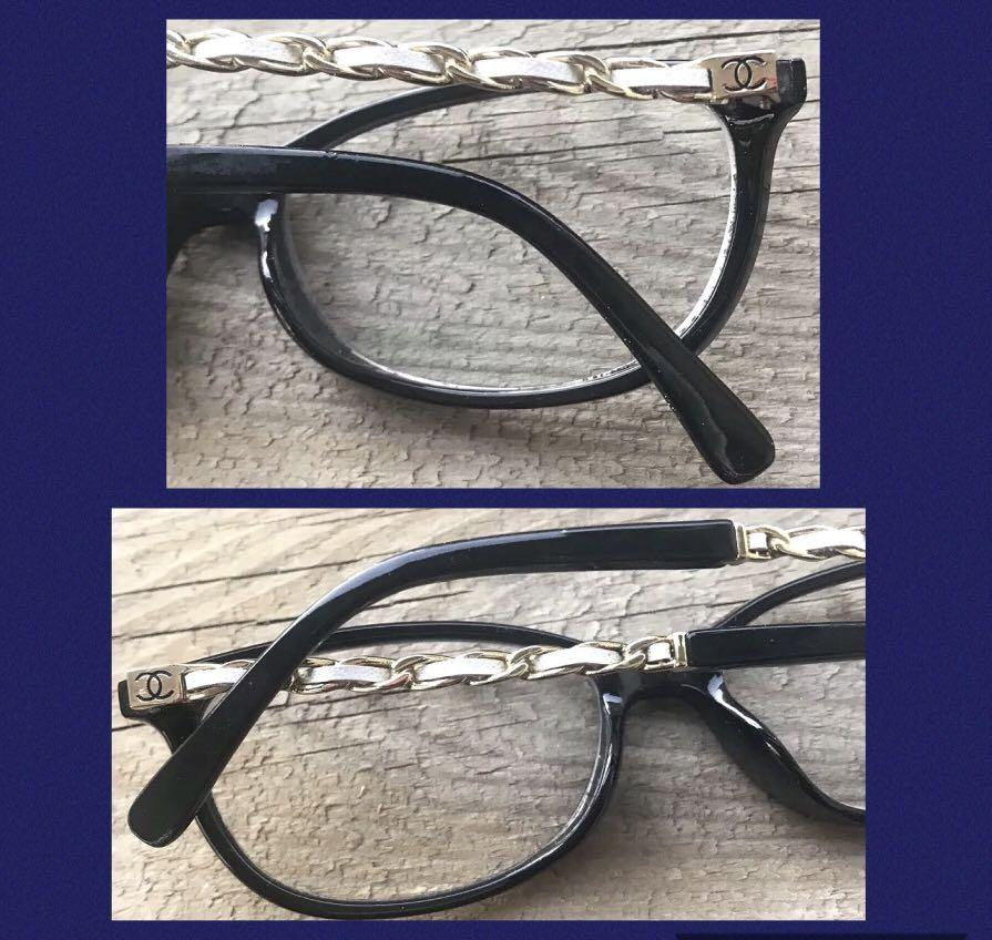 Chanel Coco Chain Eyeglasses Black Frame + Gold Temple