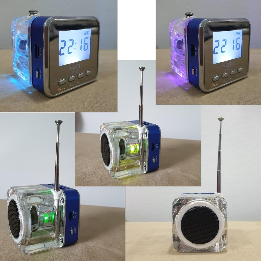 Cube MP3 Player / FM Radio / Speaker / Clock - Nizhi TT028 - can play mp3 songs with USB / Micro SD / TF Card