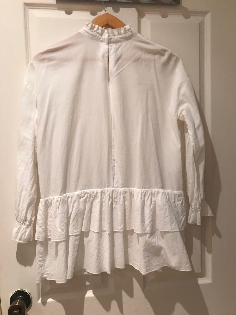 English Factory White embroidered ruffle shirt dress