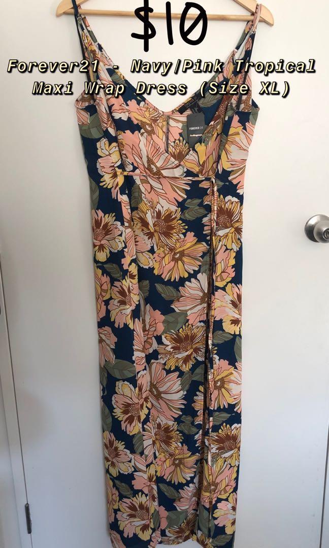 Forever21 - Nagy/Pink Tropical Wrap Maxi Dress (Size XL)