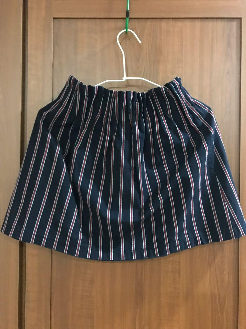日牌Heather深藍條紋棉裙
