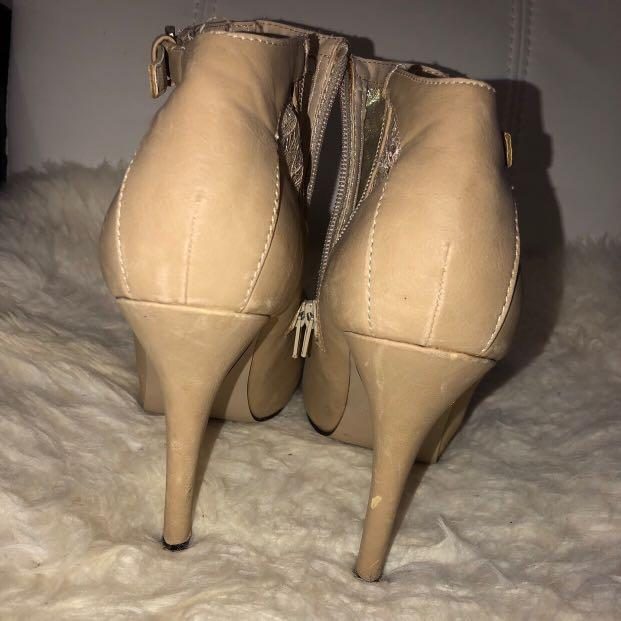 HIGH HEEL PLATFORM NUDE WOMEN'S ANKLE LACE BOOTIES SIZE 40