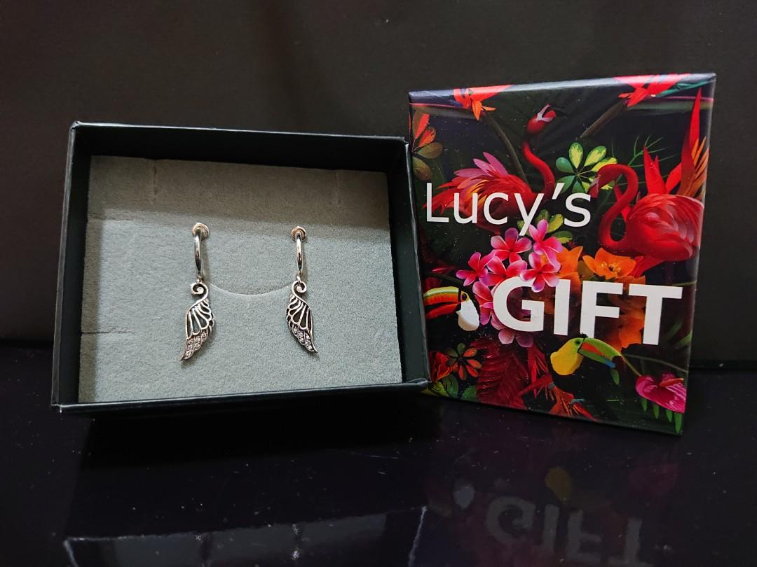 Lucy's 925純銀耳夾式羽毛鋯石耳環