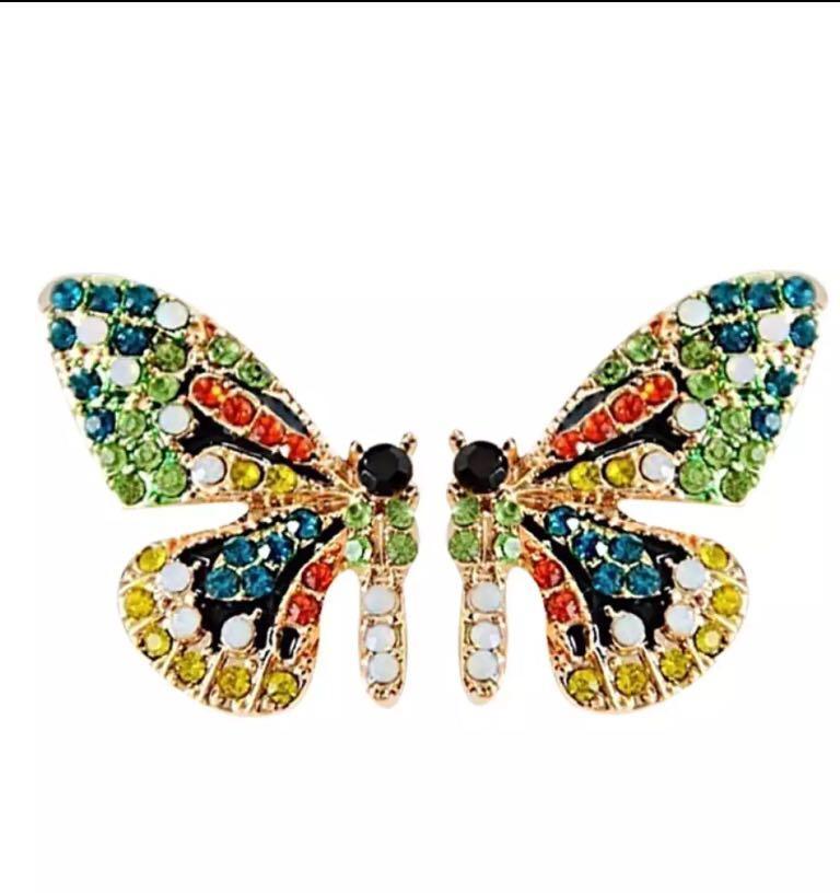 Multicolored Rhinestones butterfly Ear Stud