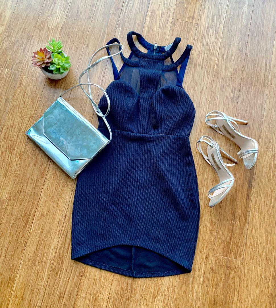Navy Blue bodycon dress with cutout cage back and mesh front