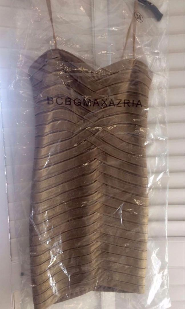 NWT BCBG MAX AZRIA GOLD/BRONZE STRAPLESS BANDAGE PARTY DRESS SIZE MED (prom, wedding, parties!)