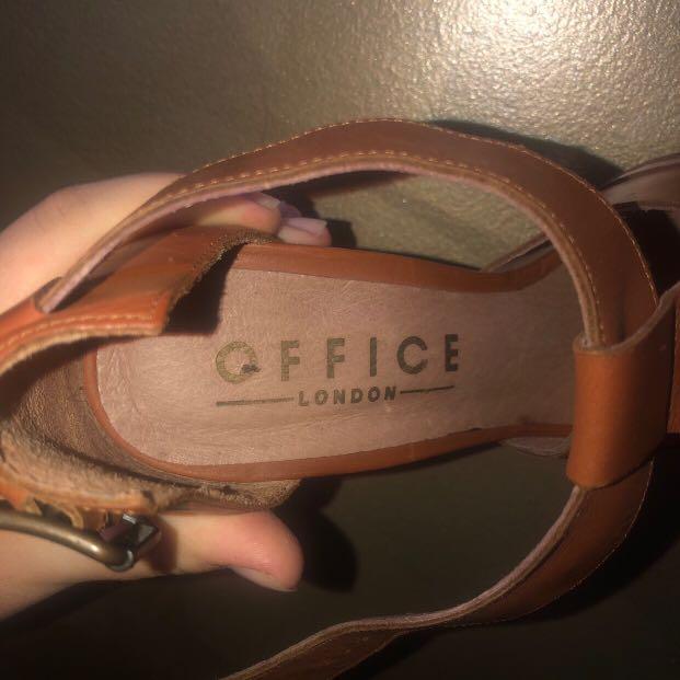 Office London Brown 100% Genuine Leather Peep toe Women's Heels Size 38 👠✨