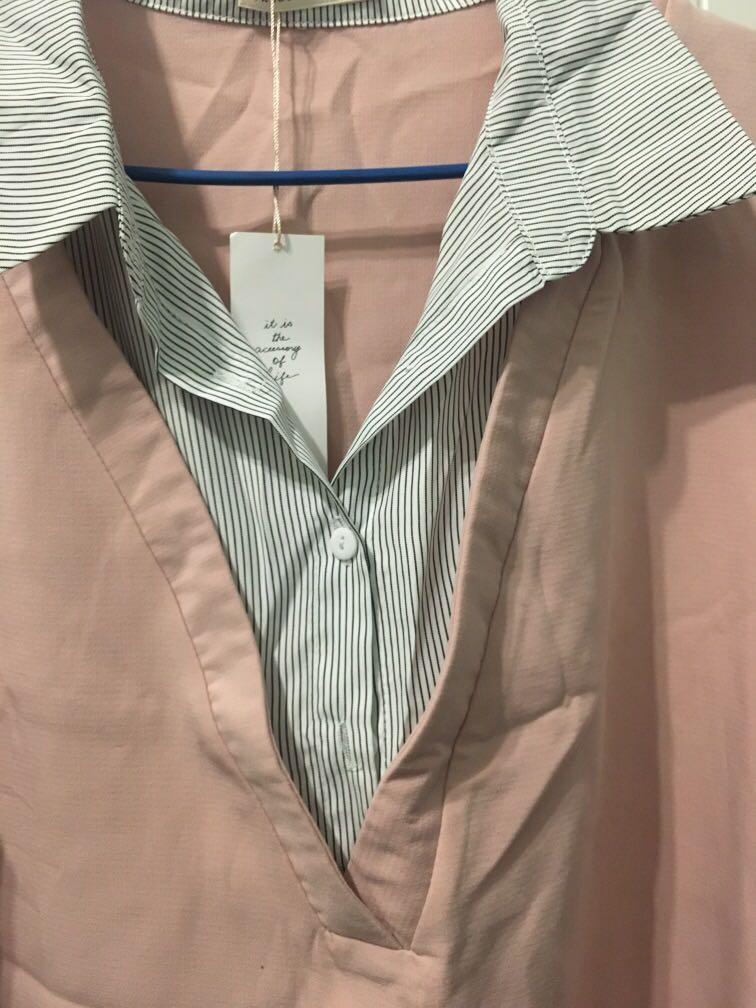 Pazzo 假兩件襯衫洋裝#五折清衣櫃