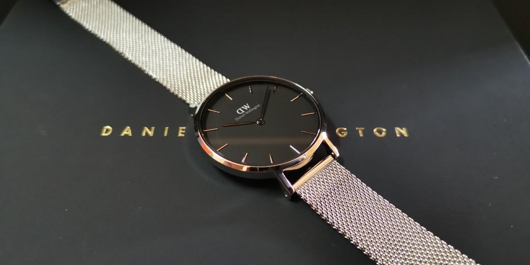 Premium Quality DW SS/SS BLACK Mid-Size 32mm Quartz Ladies Watch Wrist Watch + Bangle + Ring